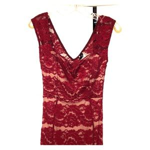 Beautiful, long, burgundy, lace dress!!